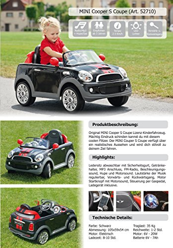 mini cooper s coupe elektro kinderauto elektrokinderauto. Black Bedroom Furniture Sets. Home Design Ideas