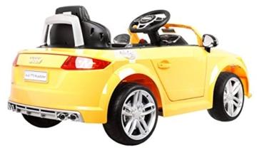 BSD Elektro Kinderauto Elektrisch Ride On Kinderfahrzeug Elektroauto Fernbedienung - Audi TT RS 2.4 GHz - Gelb Metallisch - 4