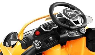 BSD Elektro Kinderauto Elektrisch Ride On Kinderfahrzeug Elektroauto Fernbedienung - Audi TT RS 2.4 GHz - Gelb Metallisch - 6