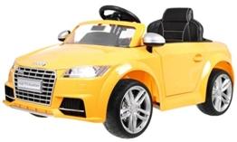 BSD Elektro Kinderauto Elektrisch Ride On Kinderfahrzeug Elektroauto Fernbedienung - Audi TT RS 2.4 GHz - Gelb Metallisch - 1