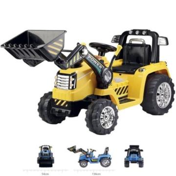 Bagger Bulldozer Kinder Elektro Auto Fahrzeug Traktor Elektrobagger Gelb -