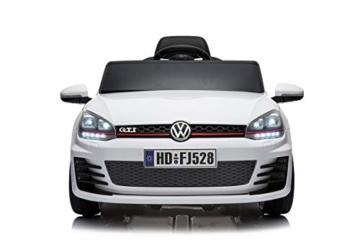 Toyas Lizenz VW Volkswagen Golf GTI Kinder Elektrofahrzeug Kinderfahrzeug Kinderauto Elektroauto 2X 30W Motor Weiß - 2